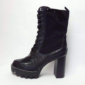 BAMBOO Lug Combat Boot Black Block Heel 9
